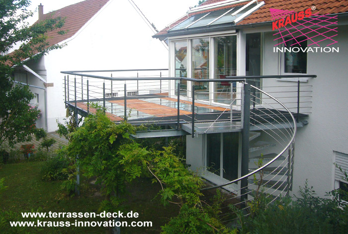 balkon terrassen deck mit wendeltreppe direkt vom hersteller krauss gmbh 88285 bodnegg. Black Bedroom Furniture Sets. Home Design Ideas