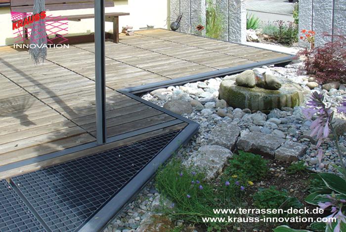 Teilweise Ueberdachtes Terrassen Deck Mit Begehbaren Glasfeldern